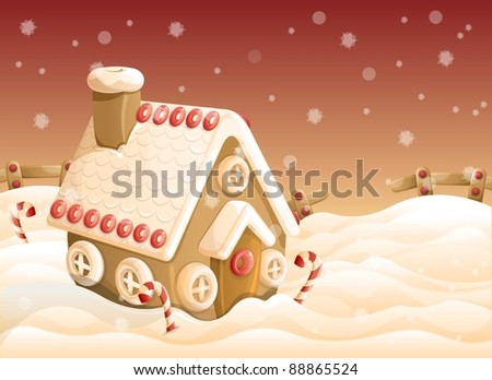 Ginger bread house on Christmas eve