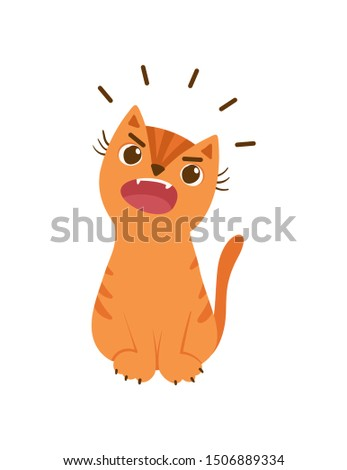 Ginger cat meowing loudly flat vector illustration. Pet behavior disorder concept. Kitty sitting and making noise. Angry kitten isolated on white background. Veterinary, felinology design element ストックフォト ©