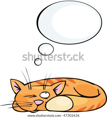 Ginger cat with speech bubble