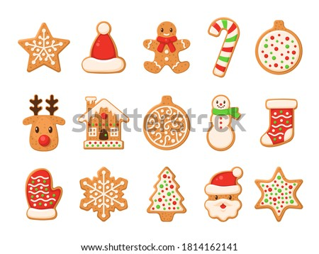 Gingerbread. Christmas gingerbreads santa and cane, xmas tree, ginger cake man, snowflake, snowman and sock, home and star homemade sweet sugar glaze cookie or winter food biscuit vector isolated set
