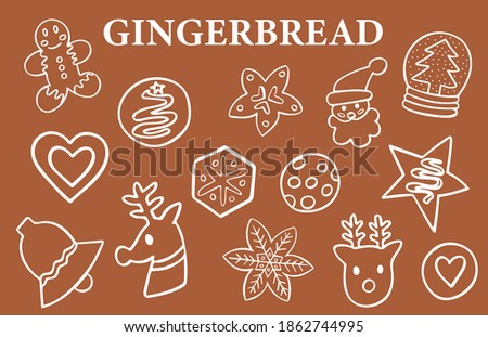 gingerbread doodle set of 14