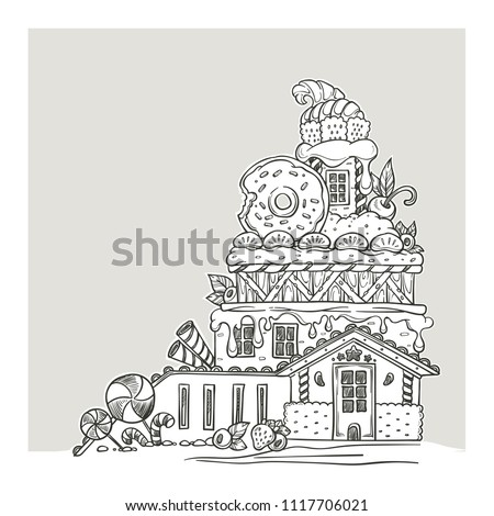 Gingerbread House, Lovely Cartoon Castle, Made From Sweets, Candy and Cookines, Page For Your Coloring Book