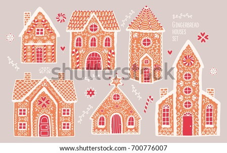 gingerbread houses set cute