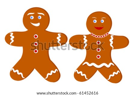 Gingerbread man and woman. Illustration of couple of cookies
