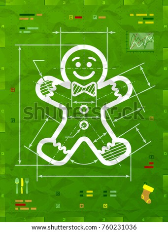 Gingerbread man symbol as technical blueprint drawing. Drafting of gingerbread man sign on crumpled paper. Vector image for christmas, new years day, decoration, winter holiday, design, silvester, etc