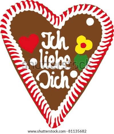 "gingerbread Oktoberfest heart saying ""Ich liebe Dich"" (I love you)"