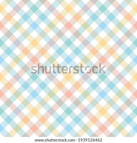 Gingham check pattern seamless for tablecloth design. Colorful pastel light tartan vector graphic for picnic blanket, oilcloth, gift paper, other trendy Easter holiday fashion textile print. Stockfoto ©
