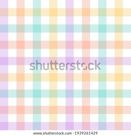 Gingham check plaid pattern seamless for tablecloth design. Multicolored pastel light tartan vector graphic for picnic blanket, oilcloth, gift paper, other trendy Easter holiday fashion fabric print.