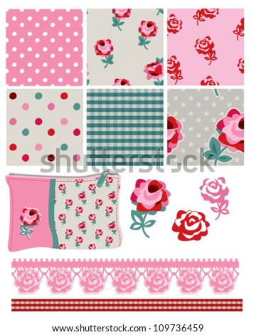 Gingham Floral Vector Seamless Patterns and Icons.  Use for scrap booking, fabric or craft projects.
