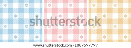 gingham pattern set floral