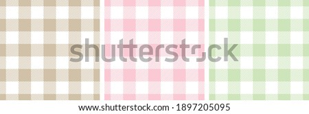 Gingham patterns in pink, green, beige, white. Spring summer light pastel seamless Scottish tartan vichy textured check plaids for dress, shirt, tablecloth, or other modern Easter holiday print. Foto stock ©