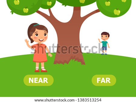 Gir stands NEAR and boy stands FAR. Antonyms word card vector template. Flashcard for english language learning. Opposites concept. Little  boy stands with umbrella in the rain and smiles, boy w Foto d'archivio ©
