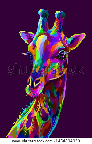 Giraffe. Abstract, colorful artistic portrait of a giraffe on a dark purple background in the style of pop art.