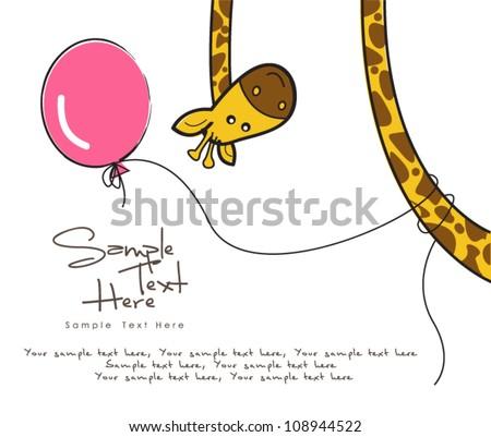 giraffe and a balloon