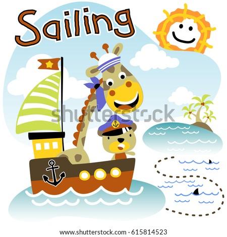 giraffe and bear the funny sailor, kids t shirt design, wallpaper, vector cartoon #615814523