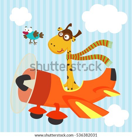 giraffe and bird on airplane  - vector illustration, eps