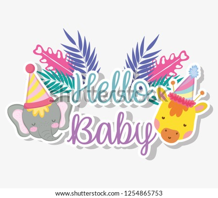 giraffe and elephant with party hat to baby shower #1254865753