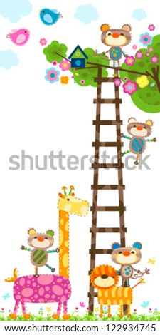giraffe and little monkeys near a tree with a bird`s house