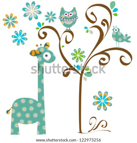 giraffe and owl
