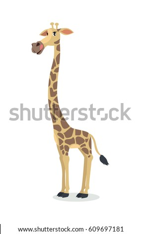 Giraffe cartoon character. Funny giraffe flat vector isolated on white. African fauna. Giraffe icon. Wild animal illustration for zoo ad, nature concept, children book illustrating