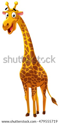 Giraffe cartoon style, vector art and illustration.