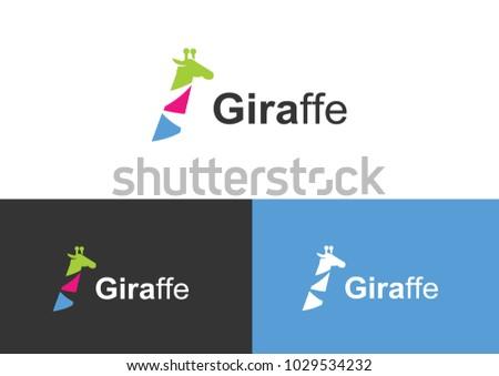 giraffe colorful logo flat