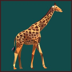Giraffe colorful low poly design on blue background with dark brown outline. Animal card design.