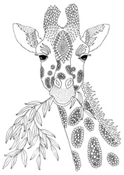 Giraffe eating leaves. Hand drawn picture. Sketch for anti-stress adult coloring book in zen-tangle style. Vector illustration for coloring page.