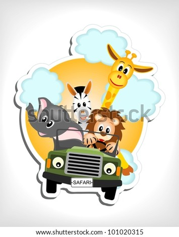giraffe, elephant, zebra and lion driving green car - vector illustration - stock vector