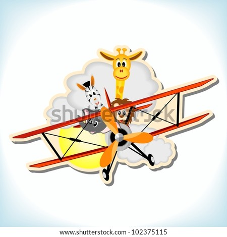giraffe, elephant, zebra and lion in red biplane - vector illustration