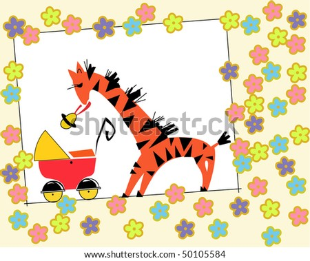 Giraffe feeds the baby in a baby carriage