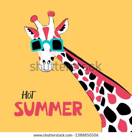giraffe flat hand drawn vector
