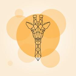 Giraffe head geometric lines silhouette isolated on a orange circle. Vector illustration.