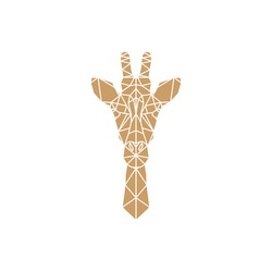 Giraffe head geometric lines silhouette isolated on white background. Abstract geometric polygonal triangle illustration for use in design for card, invitation, poster, banner.