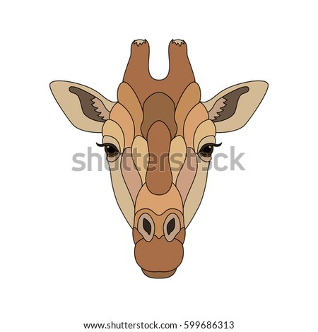 Giraffe head with black contour. African beautiful giraffe isolated on white background. Colorful vector illustration. Flat graphic illustration for t-shirt print, notebook or poster design.