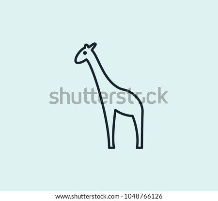 Giraffe icon line isolated on clean background. Giraffe icon concept drawing icon line in modern style. Vector illustration for your web site mobile logo app UI design.