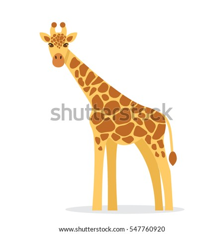 Giraffe in a cartoon style, is insulated on white background. easy to use.