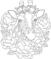 Giraffe in flowers coloring book illustration. Vector outline giraffe illustration. Animal coloring book. Peonies with giraffe coloring page. Anti stress illustration