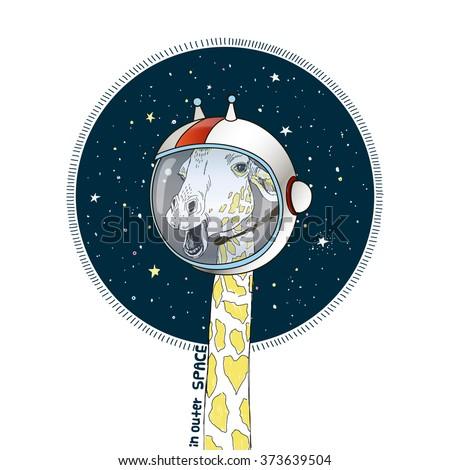giraffe in outer space, hand drawn animal art print, kid illustration
