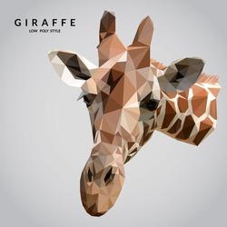 Giraffe  low poly style. Giraffe face. Polygonal mosaic vector illustration.