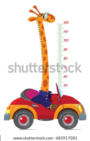 Giraffe on car. Meter wall or height chart