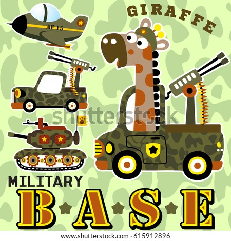 giraffe on military base with