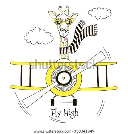 giraffe pilot flying plane