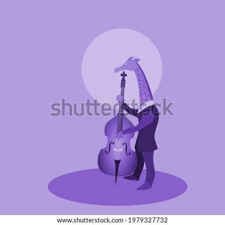 giraffe playing contra-bass,An illustration showing a giraffe playing music with his contra-bass under the moonlight. This vector is suitable for music themes, bassists, jazz,folk music etc. Foto stock ©
