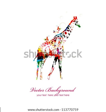 Giraffe silhouette collected from various elements of a flower ornament.