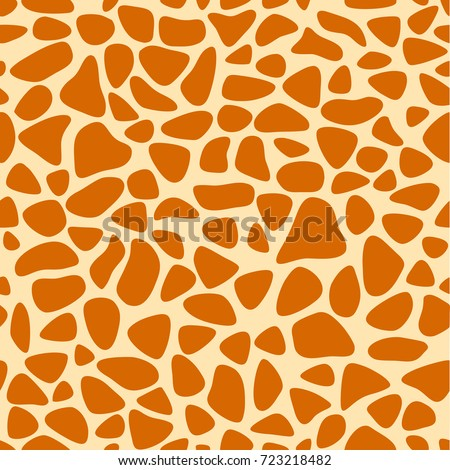 Giraffe skin texture, seamless pattern, repeating the orange and yellow spots, background, Safari, zoo, jungle. Vector.