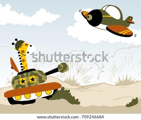 giraffe soldier in battlefield