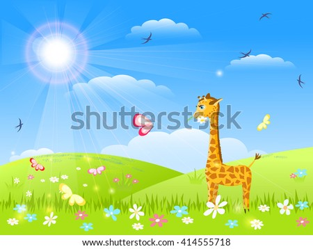 giraffe with flower and