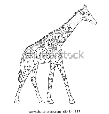 Giraffe. Zen art. Design Zentangle. Detailed hand drawn giraffe with abstract patterns on isolation background. Design for spiritual relaxation for adults. Black and white illustration for coloring.