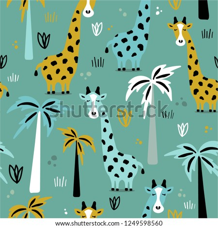 giraffes and palm trees  hand